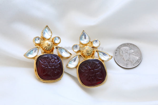 Large Gold Maroon Kundan Earrings