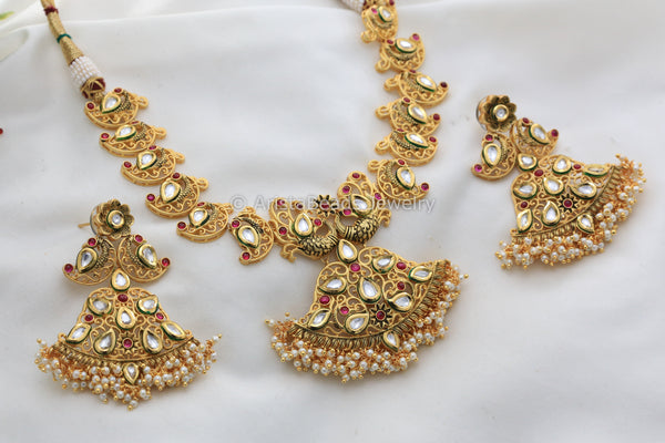 Real Gold Look Kundan Guttapusalu Necklace