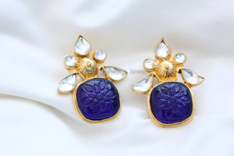 Large Aqua Blue Kundan Earrings