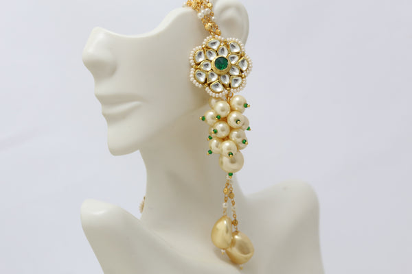 Emerald Pearl Kundan Earrings