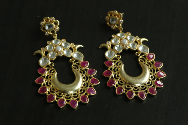 Contemporary Kundan Chandbaali