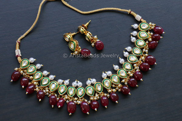 Delicate Pearl Kundan Necklace - Ruby