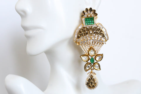 Contemporary Kundan CZ Earrings