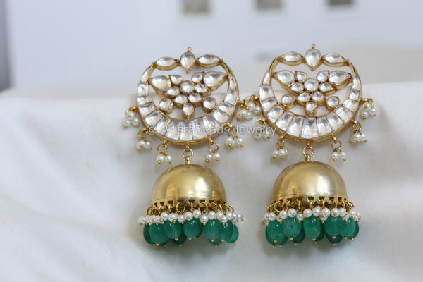 Contemporary Emerald Kundan Jhumka