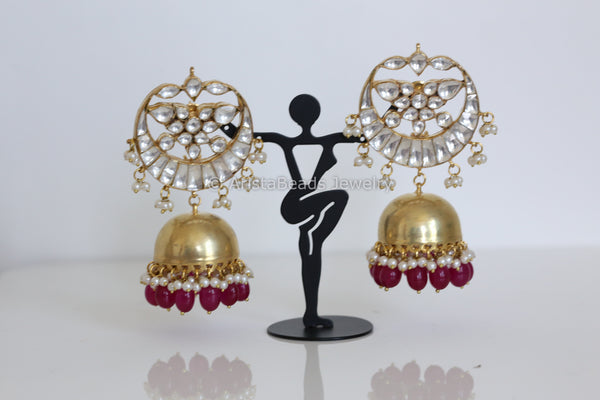 Contemporary Kundan Ruby Jhumka