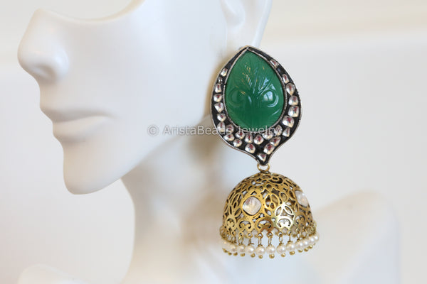 Reserved>Contemporary  Kundan Jhumka
