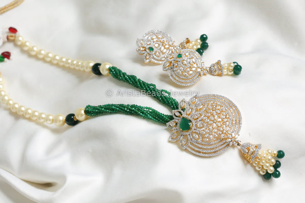 Contemporary Emerald CZ Necklace Set