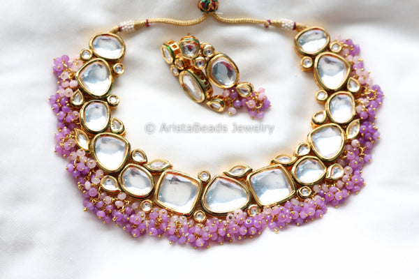 Contemporary Purple Beaded Kundan Necklace