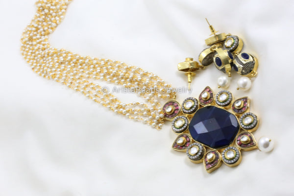 Contemporary Kundan Blue Stone Necklace