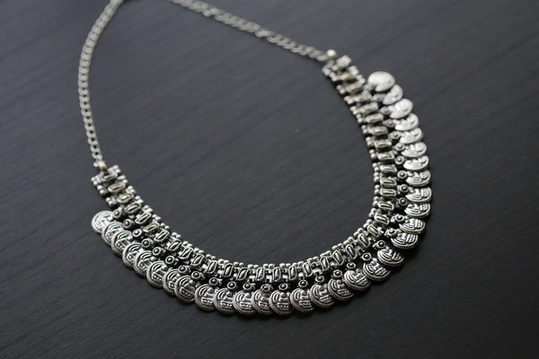 Silver Lakshmi / Laxmi Coin Necklace - AristaBeads Jewelry - 1
