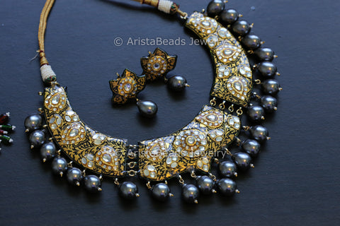 Contemporary Enamel Kundan Necklace - Black