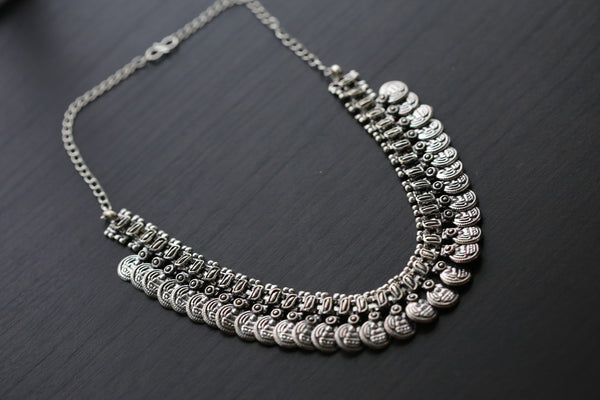 Silver Lakshmi / Laxmi Coin Necklace - AristaBeads Jewelry - 3