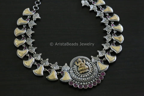 Ruby Lakshmi Polki Dual Tone Necklace