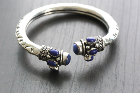 Lapis Tribal Cuff Bracelet - AristaBeads Jewelry - 1