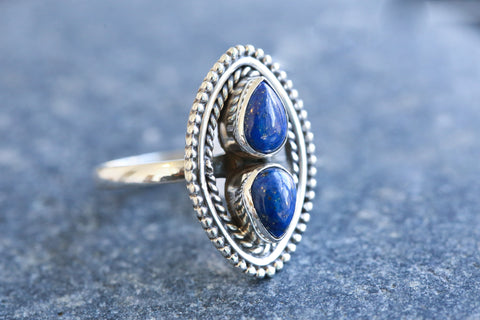 925 Silver Lapis Lazuli Ring - AristaBeads Jewelry - 1