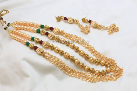 Layered Pearl Mala Necklace