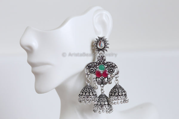 Oxidized Red Green Layered Jhumka