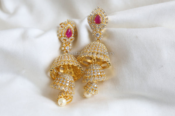 3 Layer Ruby CZ Jhumka