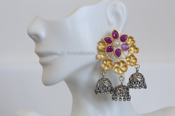 Contemporary 2 Tone Jhumka - Ruby