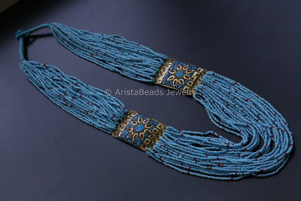 Sky Blue Beaded Nepali Necklace