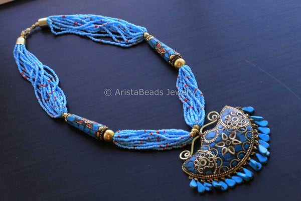 Light Blue Mosaic Pendant Necklace