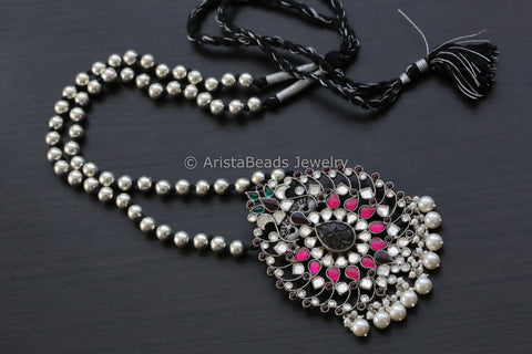 Long 925 Sterling Silver Kundan Necklace
