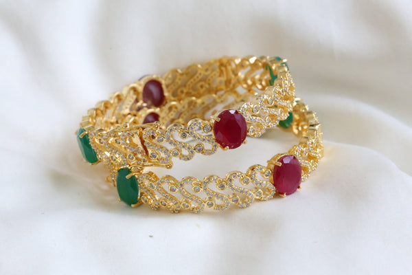 Emerald Ruby CZ Bangle (Set of 2)