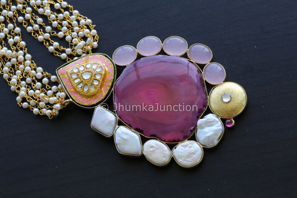 Long Pink Jadau Beaded Mala Necklace