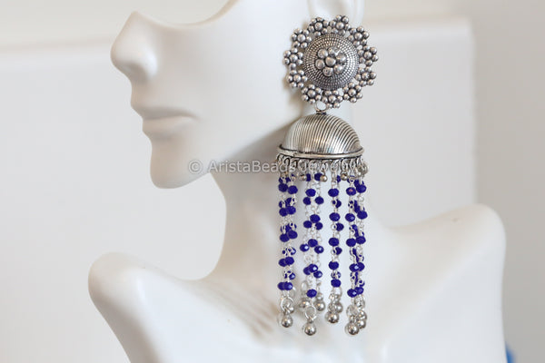 Large Tassel  Jhumka - Blue