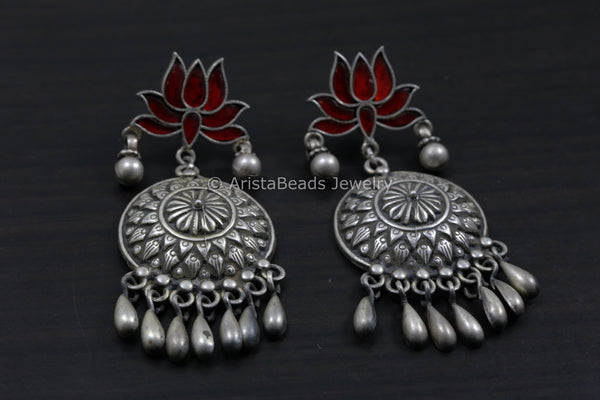 925 Kundan Lotus Silver Earrings