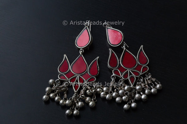 Large Oxidized - Lotus Glass Earrings