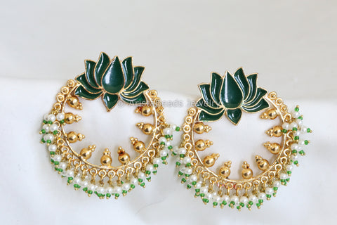 Large Green Enamel Lotus Chandbaali