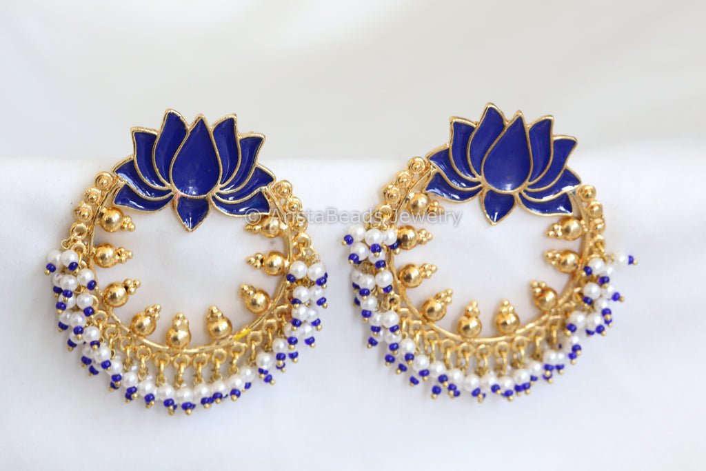 Large Blue Enamel Lotus Chandbaali