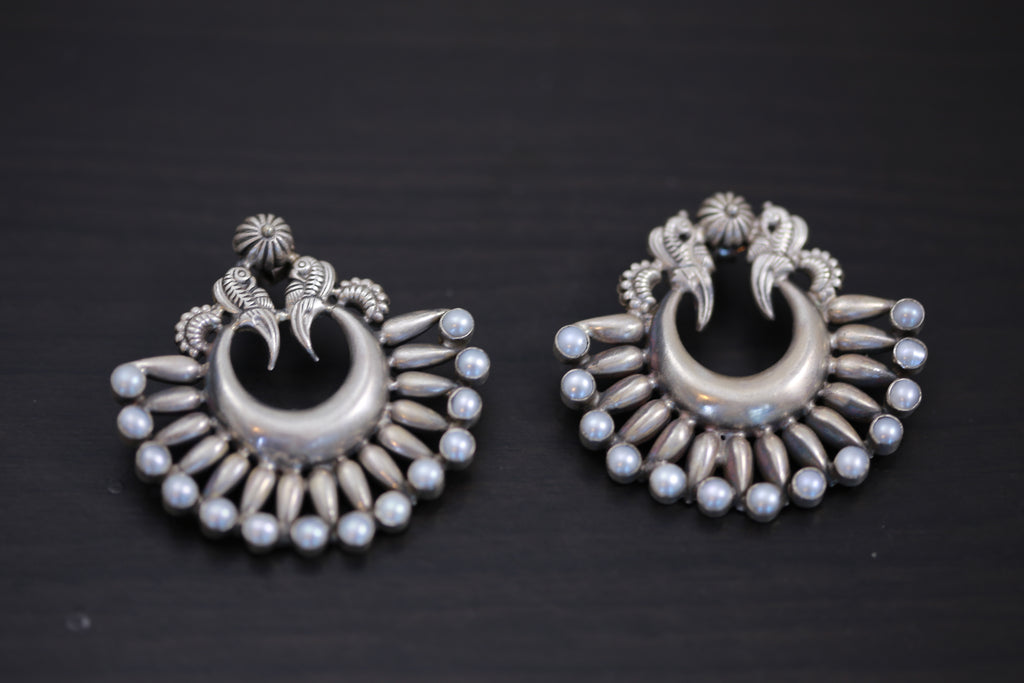 925 Silver Chandbaali With Pearls