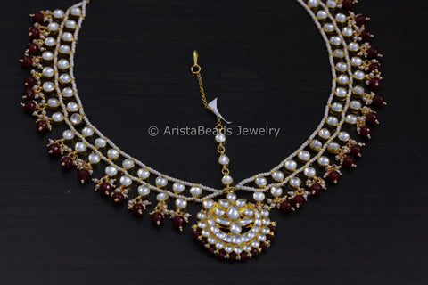 Kundan Pearl Matha Patti - Red