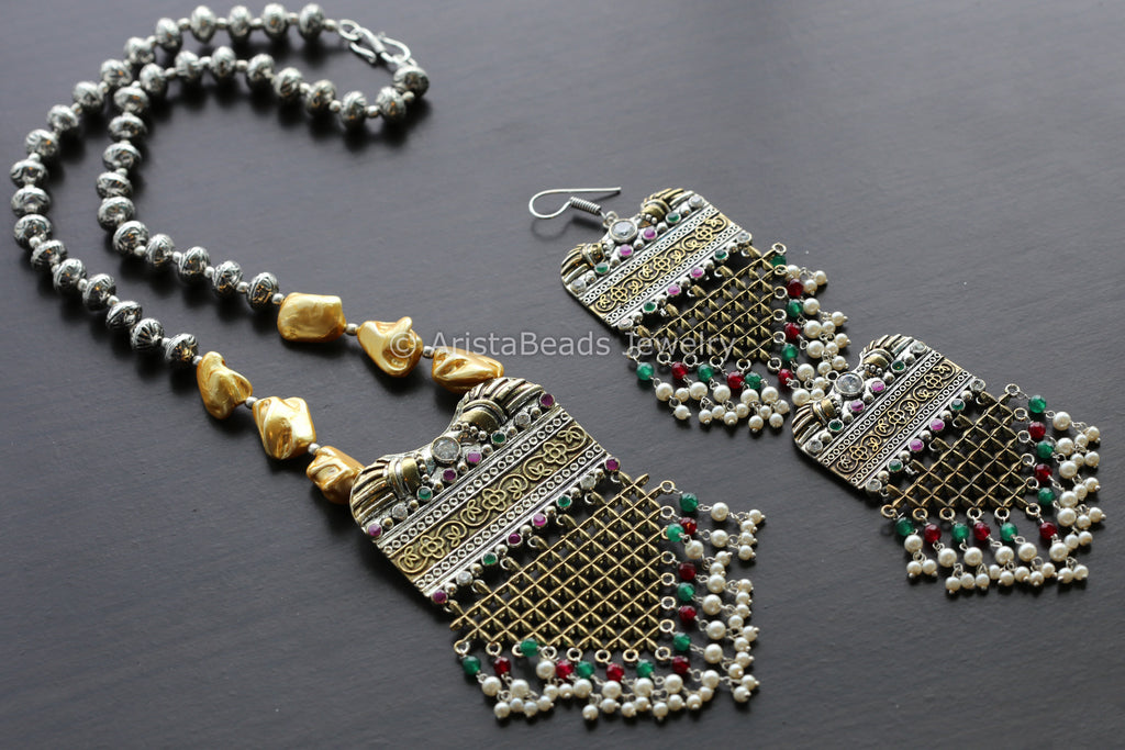 Dual Tone Emerald Ruby Necklace Set