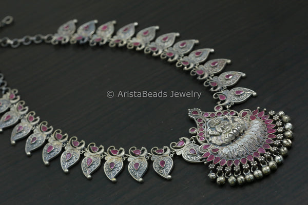 Silver Looks Ruby Lakshmi Necklace