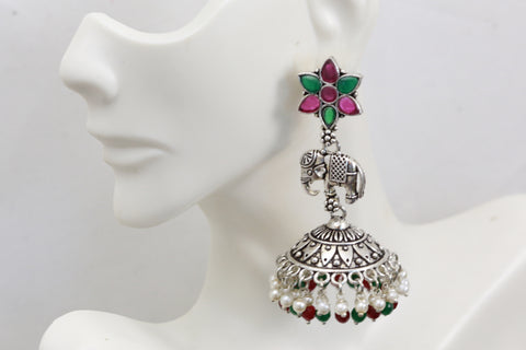 Long Elephant Jhumka -Green Ruby