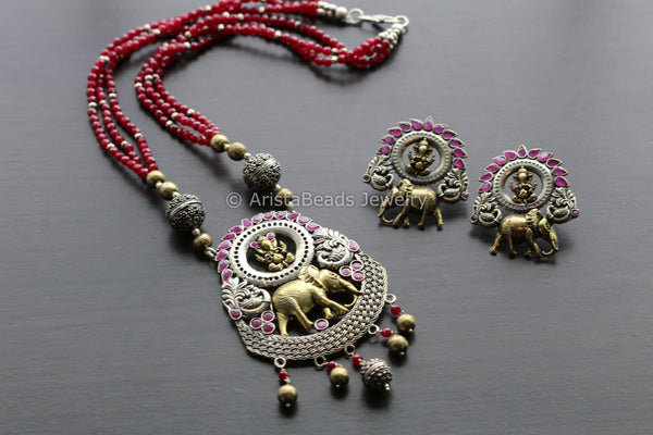 Dual Tone Elephant Necklace Set - Ruby