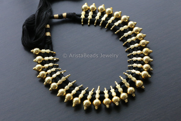 Gold Beads Black Thread Choker