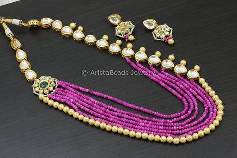 Long Magenta Kundan Necklace