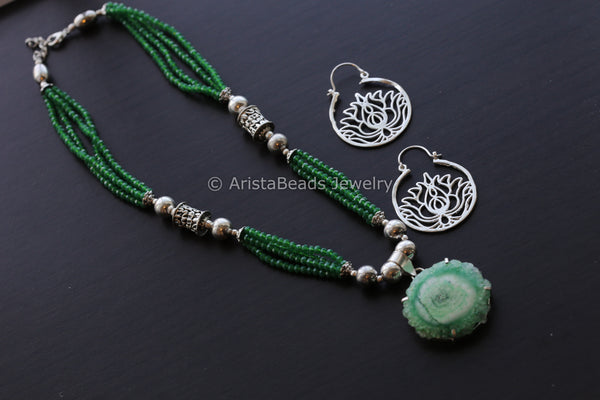Green Agate Slice Beaded Tribal Necklace