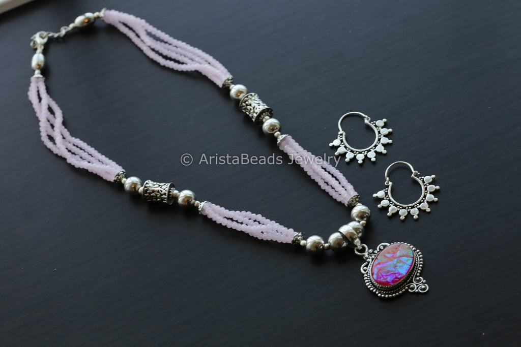 Pink Beaded Tribal Necklace