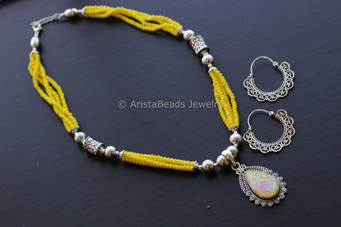 Yellow Beaded Tribal Necklace