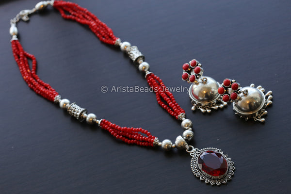 Red Beaded Tribal Necklace