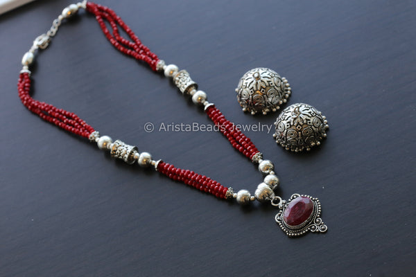 Dark Red Beaded Tribal Necklace