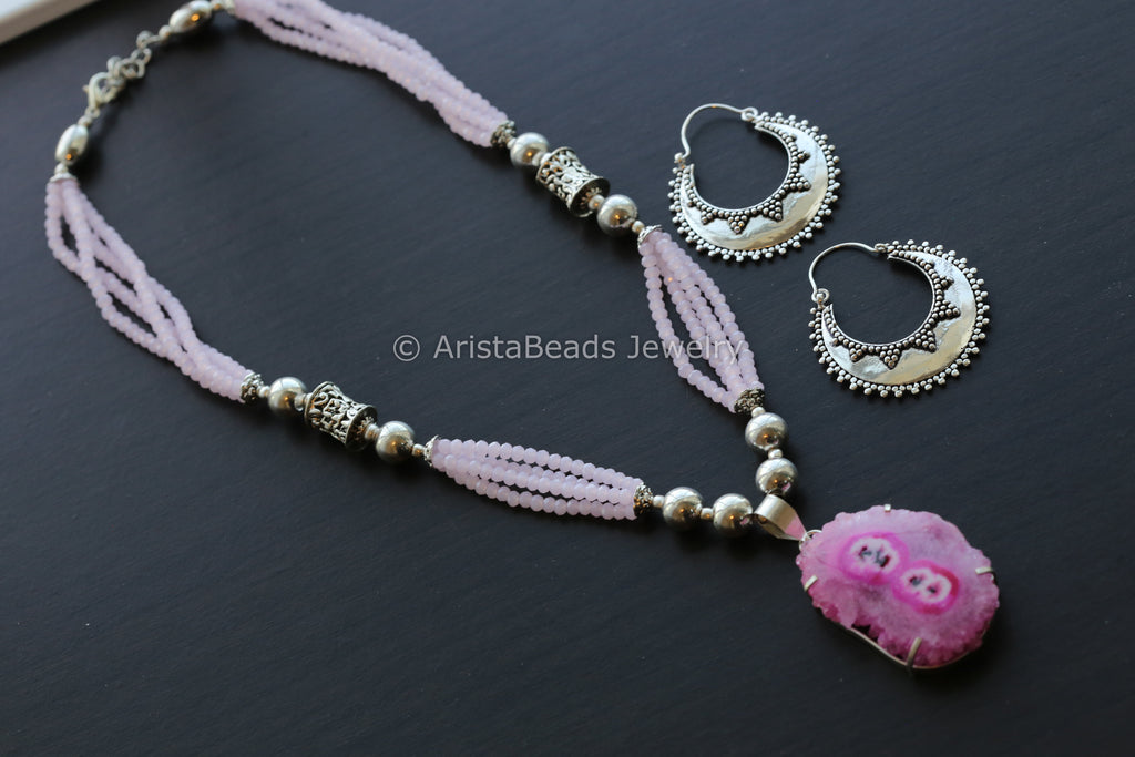 Rose Pink Agate Beaded Tribal Necklace