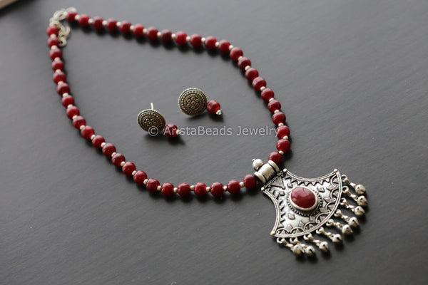 Maroon Beaded Tribal Necklace