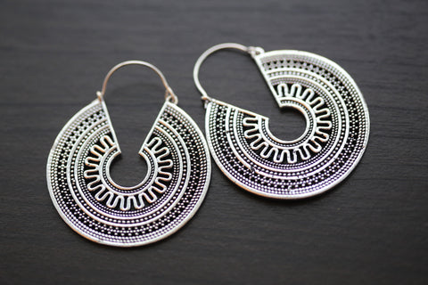 Silver Brass Tribal Hoops