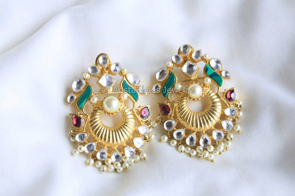 Malachite Kundan Chandbali Earrings